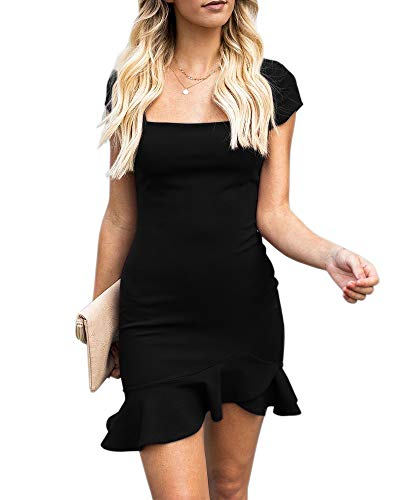 (Womens Bodycon Mini Party Dresses Sexy Square Neck Ruffle Hem Short Sleeve Elegant Evening Dress Black, X)