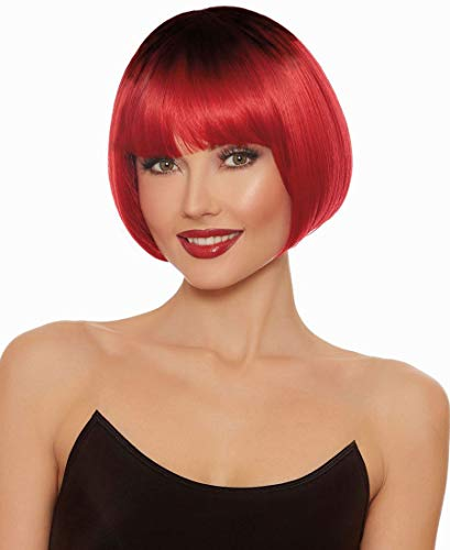 Dreamgirl Women's Dip Dye Red/Black Short Bob Wig, One Size for $<!--$17.99-->