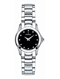 Movado Women's Masino Swiss Movement Stainless-Steel Black-and-Diamond Dial Watch 0606186
