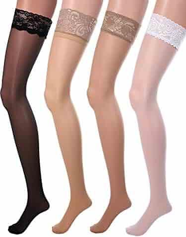 1e3148e5beab2 4 Pairs Women Fishnet Stockings Black Sheer Lace Thigh High Stockings High  Waist Tights
