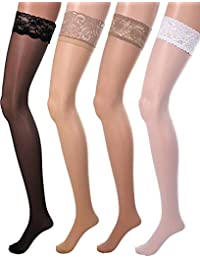 15ee581f3 4 Pairs Women Fishnet Stockings Black Sheer Lace Thigh High Stockings High  Waist Tights