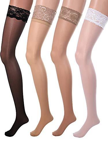 4 Pairs Women Fishnet Stockings Black Sheer Lace Thigh High Stockings High Waist Tights (Color 2, Lace Thigh-High Stockings)