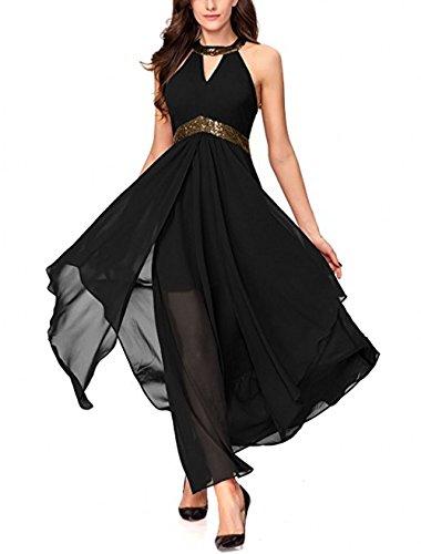 Einfach Promkleider Marie Braut Brautjungfernkleider Abendkleider Chiffon Schwarz La Lang Partykleider A Pailletten Linie qTEaBx8x4n