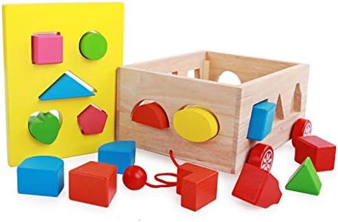 ソートキューブクラシック木製玩具、プッシュプルの教育おもちゃの車、簡単にグリップ形状、頑丈な木造建築を形作ります (色 : Multi-colored)