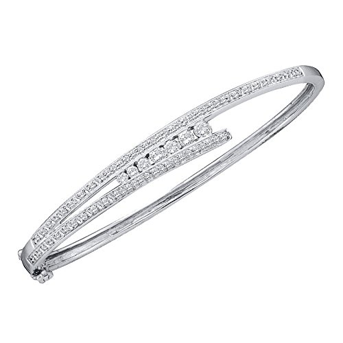 1.00ctw Round Diamond Journey Bangle Bracelet (Diamond Bracelet Bangle Journey)