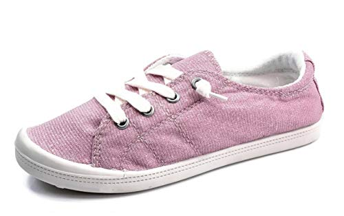 (Forever Link Women's Classic Slip-On Comfort Fashion Sneaker, Shimmer Pink, 9)