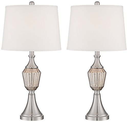 Haley Brushed Steel Mercury Glass Table Lamp Set of (Brushed Steel Glass Table Lamp)