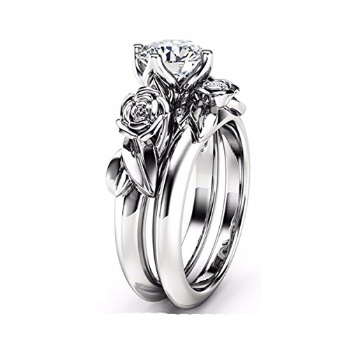 Flower Shaped Ring - Ztuo Cubic Zirconia CZ Rings Wedding Set Vintage Rose Lotus Flowers Leaf Infinity Eternity Silver Size 6