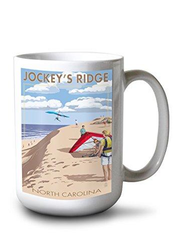 Lantern Press Outer Banks, North Carolina - Jockey's Ridge Hang Gliders (15oz White Ceramic Mug)
