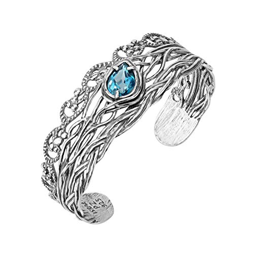 (Paz Creations .925 Sterling Silver Bangle with Pear Shaped Gemstone (Blue Topaz, Amethyst or Garnet) (7.25, Blue Topaz))
