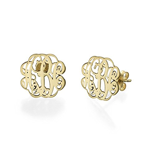 Monogram Stud Earrings - Custom Made with any Initial! - Emily And Ashley Initials Necklace
