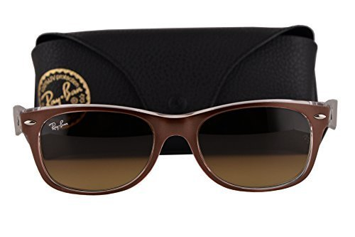 Ray Ban RB2132 New Wayfarer Sunglasses Top Brushed Brown On Transparent w/Brown Gradient Dark Brown Lens 614585 RB - Glasses Nerd Ban Ray