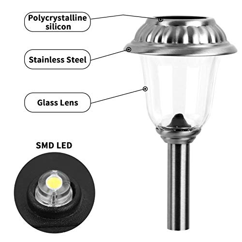 EZSolar Solar Pathway Lights Outdoor of Stainless Steel Case, Glass Lens, Garden Lights for Patio, Walkway- 8 Packs by EZSolar (Image #2)