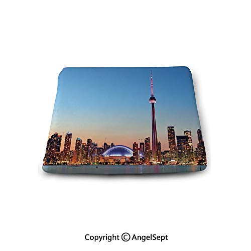 Squared Corners Seat Cushions,Modern,Canadian Skyline Toronto City with Lake Panorama at Evening Urban Scenery Decorative,Light Blue Cinnamon,13.7x15x1.2 Inches Square Reversible (A Half And Chair Toronto)