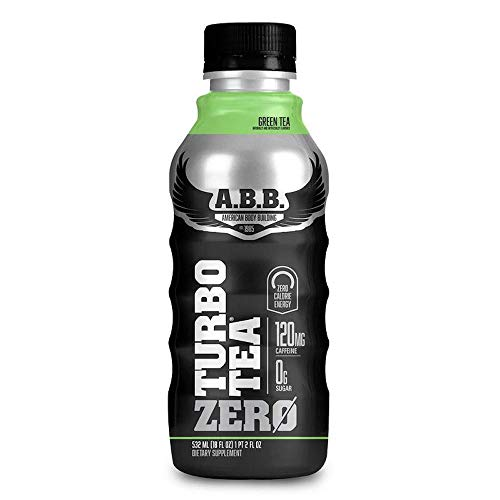 American Body Building Turbo Tea Zero, Iced Tea Flavored Supplement, Caffeine with Zero Sugar and Zero Carbs, Green Tea Flavored, Ready to Drink 18 oz Bottles, 12 Count