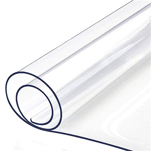 36 X 60 Inch Clear Plastic Tablecloth Table Protector Eco Thicken Protective Desk Blotter Mat Cover Waterproof Wipeable Tablecloth Roll Easy Clean PVC Vinyl Dining Coffee Tabletop Protection Liner Pad