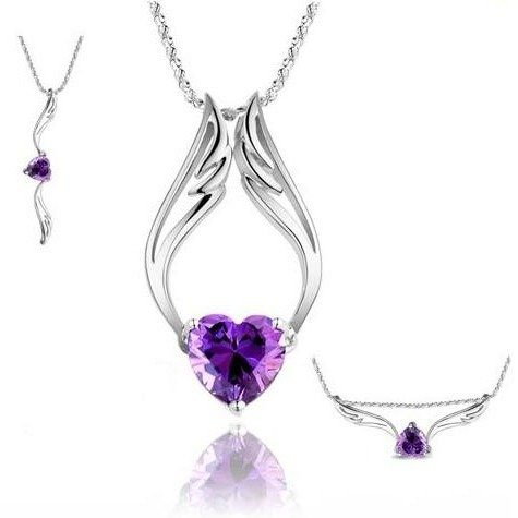 "Fashion White Rhodium Plated Heart Purple Synthetic Stone Angel Wings Pendant with Free 18"" Necklace Chain"