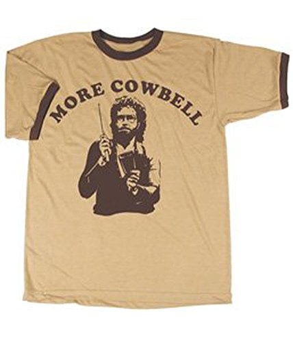 SNL Saturday Night Live More Cowbell Vintage Tan with Brown Ringers T-Shirt Tee, Tan, Large