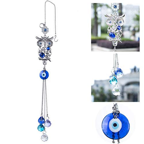YU FENG Blue Evil Eye Wall Hanging Ornament - Owl Figurine Crystal Pendant with EviI Eye and Fengshui Crystal Prism Ball