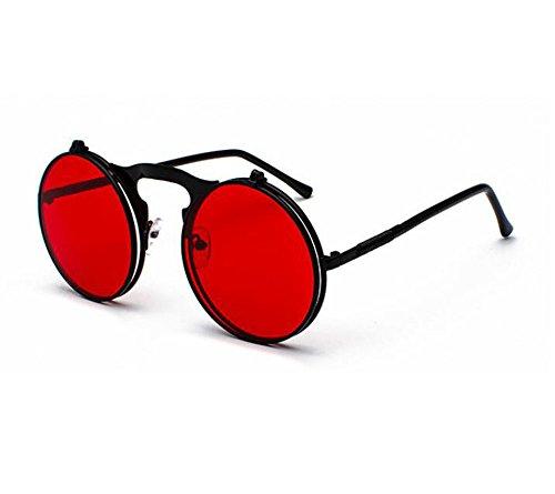 Flip Noir Lentille Métal UV400 Round Cadre Rétro Lunettes Steampunk Frame soleil de Protection Rouge De Classique 5pnFq