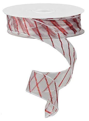 Red Glitter Stripe Sheer Ribbon - 1 1/2