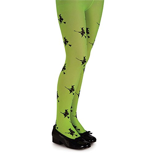Lime Glitter Witch Tights Child ()