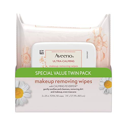 Feverfew Leaf Extract - Aveeno Ultra-Calming Cleansing Oil-Free Makeup Removing Wipes for Sensitive Skin, 25 Count, Twin Pack