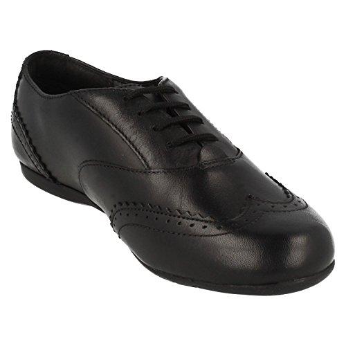 Clarks DanceHoney Schule für Mädchen Schuhe aus schwarzem Leder Black Leather 1 E