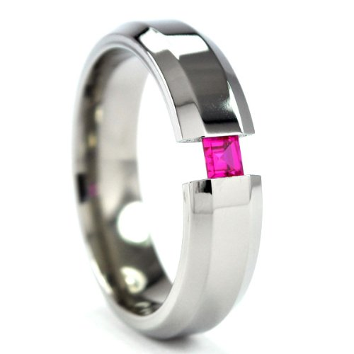 New 6 mm Titanium Tension Setting Ring with a Princess Cut Gem