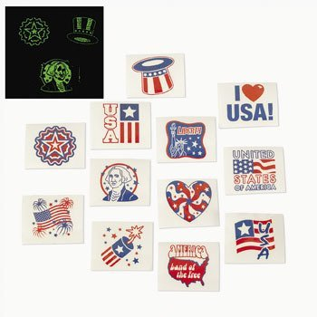 UPC 887600236615, Fun Express Fourth of July Patriotic Glow In The Dark Tattoos - 72 Pieces