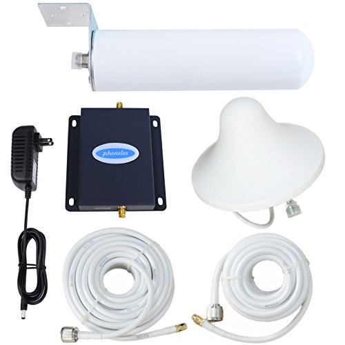 Phonelex T-Mobile MetroPCS AWS AT&T 3G 4G LTE 1700Mhz Band4 FDD Cell Signal Booster Repeater Mobile Phone Ampliifer with Inside Ceilling and Outside Omni- Directional Atennas cable Kits For Home by phonelex