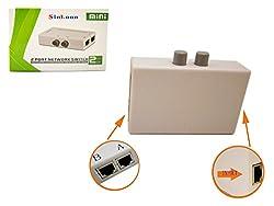 RJ45 Splitter Selector Switch, 2 Ports Network Switch Splitter Selector Hub 2-In 1-Out or 1-In 2-Out 100M t 2-Way RJ45 Ethernet Network SinLoon Push Button Metal Mini Switch Box