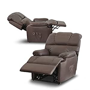 Deluxe - Sillón Relax Masaje Reclinable Eléctrico - Calor Lumbar - 8 Motores De Vibración - Máxima Calidad - (Marrón Chocolate)