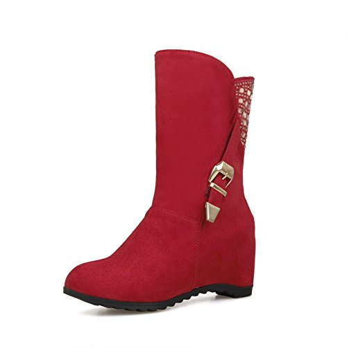 Women's Mid Cut Rain Boots (Red) - 4