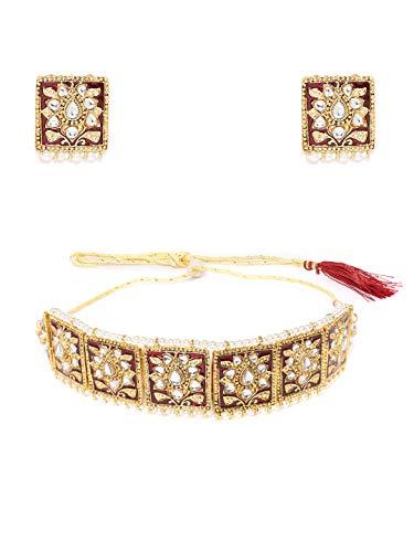 Zaveri Pearls Enamelling Red Kundan & Pearls Ethnic Choker Necklace & Earring Set For Women-ZPFK9530