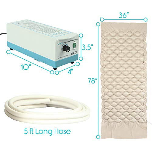 Vive Alternating Pressure Mattress - Includes Electric Pump System and Mattress Pad Cover - Quiet, Inflatable Bed Air Topper for Pressure Ulcer and Pressure Sore Treatment - Fits Standard Hospital Bed by VIVE (Image #5)