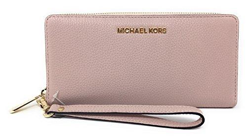 - Michael Kors Jet Set Travel Continental Zip Around Leather Wallet Wristlet (Blossom)