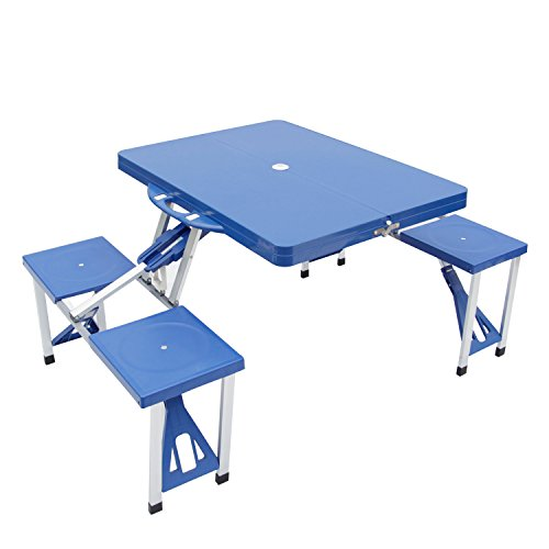Kinbor Aluminum Portable Folding Camping Outdoor Kids Picnic Party Table Garden BBQ Chairs w/4 Seats, Blue/Green