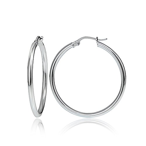 Hoops & Loops Sterling Silver 2mm High Polished Round Hoop Earrings, 25mm (Mm Round 25 Hoop)