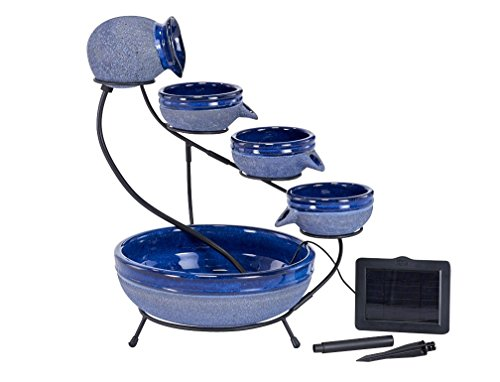 "Smart Solar 23967R01 4-Tier Solar Powered Cascading Fountain, Blueberry And Rustic Blue,  Powered By A Separate Included Solar Panel Along With a 10-Foot Cable - Assembled Dimensions: 17.5"" L X 15.5"" W X 22.0"" H  Solar Powered 4 Tier Cascading Fountain Creates A Relaxing Atmosphere On Your Patio, Deck, Balcony Or In Your Garden - patio, outdoor-decor, fountains - 41 5ZGeBurL -"