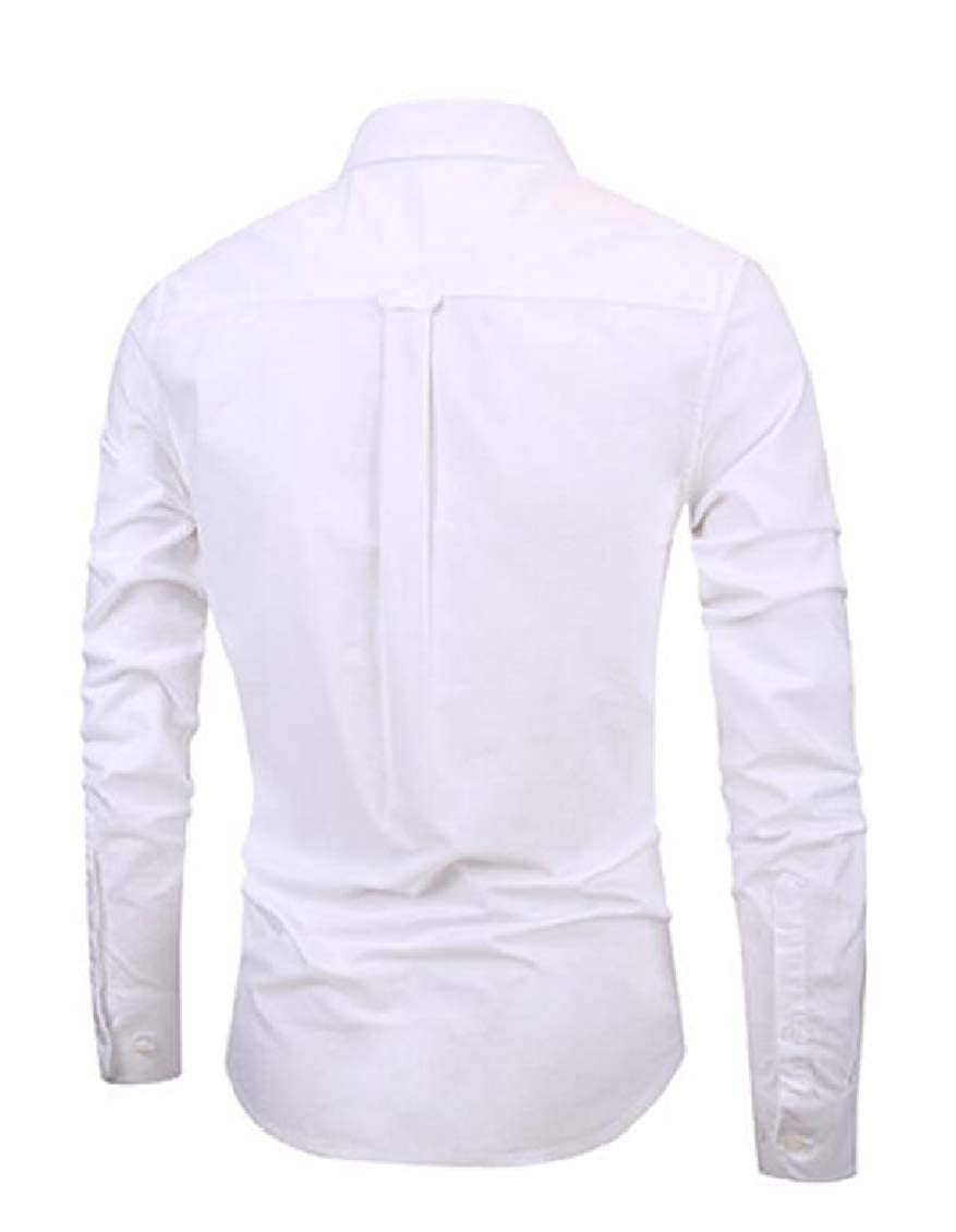 Hajotrawa Mens Button Front Lapel Slim Fit Long Sleeve Pure Color Shirts