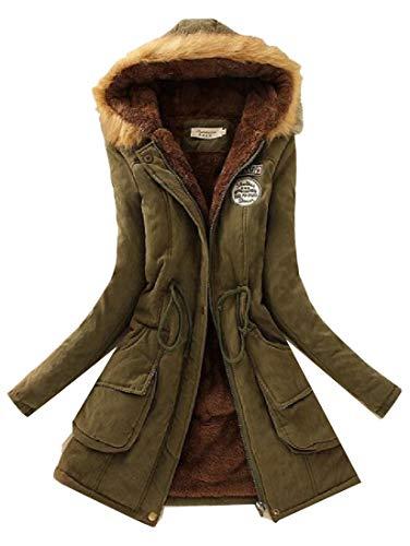 H&E Womens Winter Thicken Faux Fur Hooded Fleece Lined Outwear Parka Coat Army Green