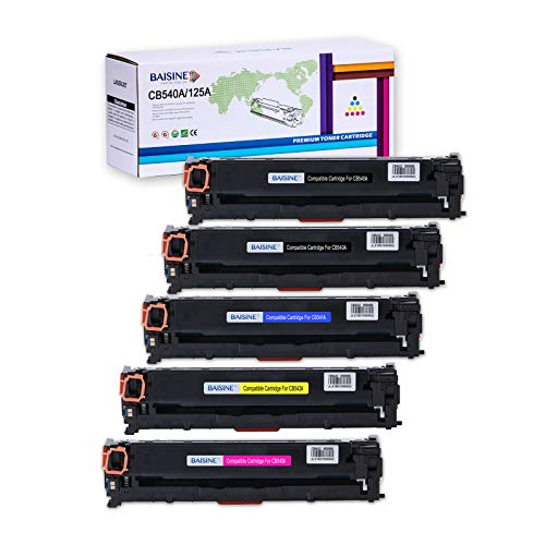 BAISINE 5 Pack CB540A Compatible Toner Cartridge Replacement for HP 125A HP CB540A CB541A CB542A CB543A Toner, Used in HP Color Laserjet CM1312nfi CP1518ni CP1215 CP1515n CM1312 MFP Printer ()
