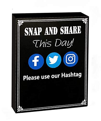 JennyGems Hashtag Sign - Snap And Share This Day Use Our Hashtag - Social Media Sign - Wedding Chalkboard Ceremony Receptions Signs - Birthday Anniversaries Graduation Party Special Event Photo Prop