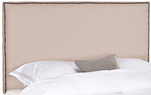 Safavieh Sydney Taupe Linen Upholstered Headboard -Brass Nailhead (King)