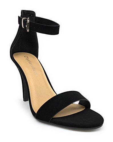 Città Classificata Tandra Donna Strappy Open Toe Tacchi A Spillo Tacco Alto Cinturino Sandalo Nero Nabuk