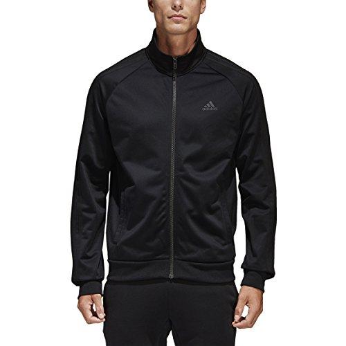 adidas Men's Essentials 3-Stripe Tricot Track Jacket, Black/Black, XX-Large