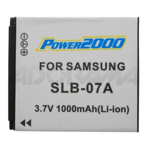 Power2000 SLB-07A Replacement 3.7v, 1100mAh Lithium Ion Battery for Samsung SLB-07A Digital Camera Battery