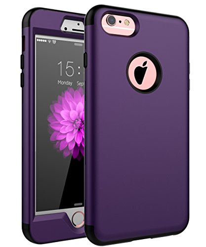 "SKYLMW Case for iPhone 6 Plus, Case for iPhone 6s Plus, Three Layer Heavy Duty High Impact Resistant Hybrid Protective Cover Case for iPhone 6 Plus/6s Plus (Only for 5.5""), Purple/Black"
