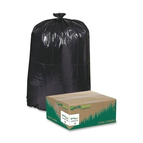 Earthsense Can Liners, 55-60 Gallons, 1.25 Milliliters, 38 x 58, Black, 100/Carton ()